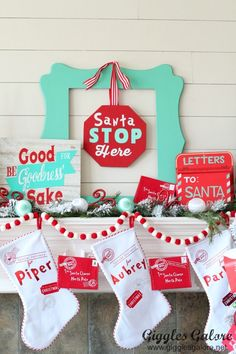 Santa Claus is coming to town with this Whimsical North Pole Christmas Mantel and decorations! But before he does we'd better get our Christmas letters in the mail so they can get to the North Pole in plenty of time! #cricut #cricutmade #christmas #diymantel #christmasdecor #diy #holidaydecor #christmascrafts