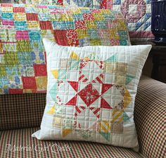 Mini Moda Love pillow by Amanda Castor of Material Girl Quilts