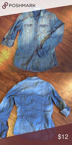 Denim chambray button down Denim or chambray because it is lighter weight, gold snaps, convertible sleeves, snap up or leave rolled down, slightly distressed look to it. Forever 21 Tops Button Down Shirts