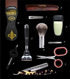 The tools of grooming, in order of decreasing necessity (but don't be afraid to get all fancy in there)
