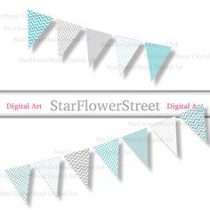 printable chevron instant download bunting banner pennant banner party flags Turquoise photography prop party decorations blue gray grey DIY baby shower StarFlowerStreetDA on Etsy: (5.00 USD)