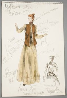 Edith Head sketch for Katharine Hepburn in Rooster Cogburn (1975)