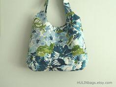 Tote bag floral tote BEAUCATCHER shoulder bag blue by HULINbags