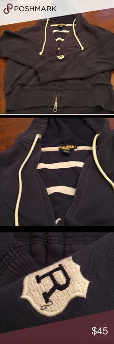 Rugby Ralph Lauren Navy hoodie Rugby Ralph Lauren navy blue full zip fleece.  • Excellent used condition • No rips, tears, or stains • ORIGINAL MSRP: $128  Measurements 
