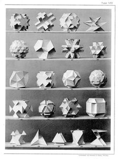 """design-is-fine: """" Max Brückner, from his book Vielecke und Vielfläche, Leipzig, Germany. Via Bulatov. Brückner extended the stellation theory beyond regular forms, and identified ten stellations. 3d Prints, Fine Art Prints, Paper Art, Paper Crafts, Image Theme, Platonic Solid, Public Domain, Shape And Form, Kirigami"""