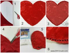 Free Valentine's Heart Pillow Sewing Pattern - DIY Crush