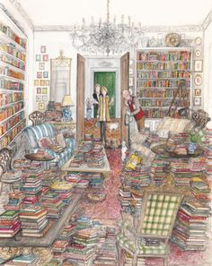 The Bookaholic - Sue Macartney~ This looks like my house.. with all the books. Great reading place
