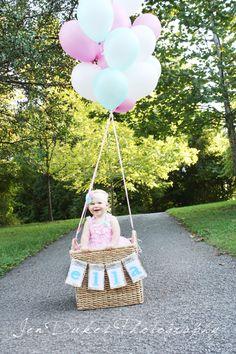 1st Birthday photo session. Balloons! Shabby chic!