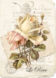 Vintage rose Digital collage p1022 Free for personal use <3