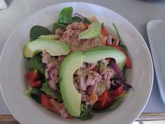 Clean salad with tuna and avacado!  Ups the Calories a bit but I like to add Fat Free Ranch!