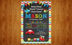 Are you planning a birthday party or baby shower with a transportation theme? This invitation would be perfect for you! I can make any changes to it or add/replace with other specific transportation clip art you may want also or instead. The chevron stripes on the background can be any color or combination of colors you may want.  This listing is for a digital high quality printable design. No items will be shipped. Invitation is 5x7 inches. I also make 1st birthday chalkboard posters which…