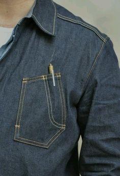 口袋 Men Design, Vintage Denim, Denim Shirts, Pocket Detail, Work Wear, Shirt Designs, Sewing Pockets, Raw Denim, Denim Ideas