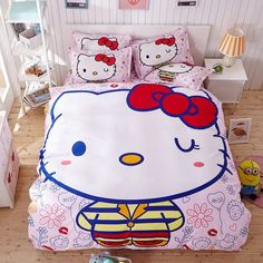 Hello Kitty Cartoon Bedding Set Kids with Duvet Cover Bed Sheet set of Bed Linen Bedsheet Bedspread Sheets Queen Twin Size Kids Bedding Sets, Cotton Bedding Sets, Cotton Duvet, Linen Duvet, Bed Sheet Sets, Bed Sheets, Hello Kitty Bedroom, Hello Kitty Cartoon, Queen Sheets