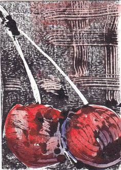 monoprint - Cherries