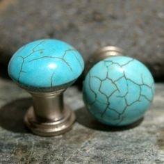 Round Turquoise Cabinet Knobs or Drawer Pulls by KnuckleheadKnobs