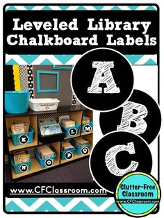 Clutter-Free Classroom: Leveled Classroom Library Labels Freebie-Chalkboard Style {Classroom Design Photos, Set Up Pictures & Ideas, Organization & Management}