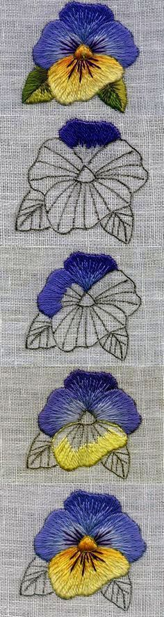 Master class on satin stitch: violet flower - # master class . Crewel Embroidery Kits, Embroidery Flowers Pattern, Simple Embroidery, Paper Embroidery, Embroidery Needles, Embroidered Flowers, Floral Embroidery, Flower Patterns, Embroidery Designs