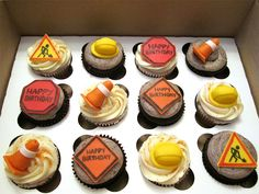 Construction Birthday Cupcakes by Cutie Cakes WY, via Flickr #construction