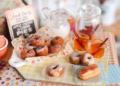 Miniature Fall Doughnut and Cider Set