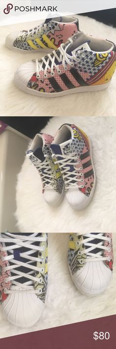 Adidas superstar Adidas X Rita Ora superstar wedge. 3 inch wedge, shoe size 5.5 comic pop print worn  4-5 times. 😊Offers welcome. Bundle and save. ❌ Sorry no trades. adidas Shoes Sneakers