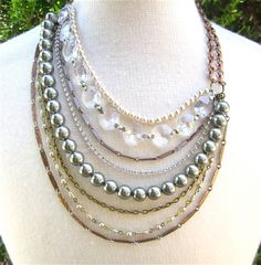 Mixed Metal Layered Chains Bib Statement Necklace Copper Crystal Gunmetal Pearl Beaded Asymmetrical Necklace - Sideshow Sally 2 Necklace on Etsy, $113.45 AUD