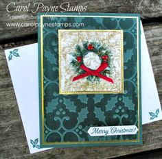 Stampin' Up! Painted Harvest/Holly Textured Impressions Gilded Faux Silk! Handmade Christmas cards. #carolpaynestamps