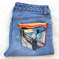 The Scream by Edvard Munch painted jeans by Kessler Ramirez Art – Painted jeans, painted denim, fabric art, fabric painting, pocket painting Painted Jeans, Painted Clothes, Diy Clothing, Custom Clothes, Denim Art, Do It Yourself Fashion, Scream, Mellow Yellow, Fabric Painting