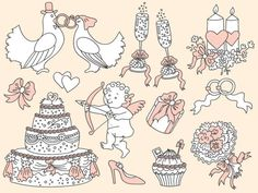 BUY 1 GET 1 FREE  Doodle Wedding Clipart - Digital Vector Wedding, Love, Romantic, Cake, Sketch Clip Art for Personal and Commercial Use by thecreativemill. Explore more products on http://thecreativemill.etsy.com