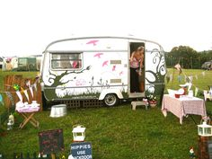 Just love it! great  paint job.  THIS is camping or should I say GLAMPING!