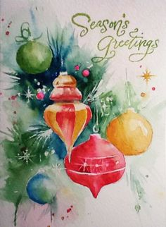I will be teaching a class on holiday cards shortly. While preparing for the class, I took work-in-progress photos. Three of these cards are beginner level watercolor projects — all but the ornaments. Click on an image to view the detailed instructions for painting. These cards can be purchased in my Zazzle store.