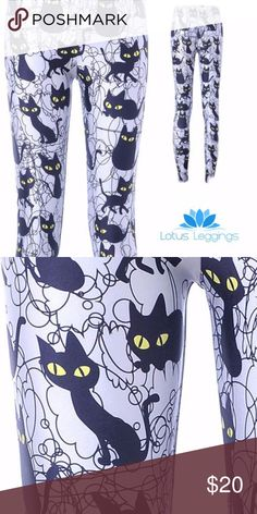 "Lotus Leggings Black Cat Large Sneaky Kitty Sneaky Kitty Leggings feature an adorable array of kitties tangled in yarn that will charm everyone around you and perfect any look. -Breathable Polyester-Spandex blend - hand wash -Silky smooth material offers a streamlined second-skin fit -Elastic waistband stays in place for a silhouette-slimming look -Ultra lightweight performance design perfect for yoga, dance, jogging, everyday wear! -All-way stretch  Waist flat and unstretched 13"" Inseam…"