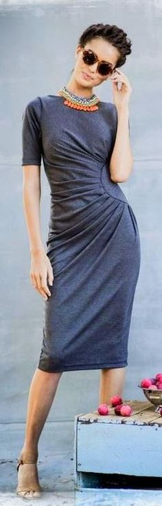 Chic In The City- Ruched Gray Dress with a Pop of Color- #LadyLuxuryDesigns