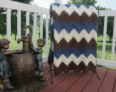 Handmade, ripple, chevron, crochet blanket, afghan crochet, crocheted blanket, crocheted afghan, brown, blue and ivory, FAST SHIPPING