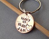 TONS OF SALES Lucky Us Personalized Hand Stamped Penny, Custom One Year, 7th Anniversary Keychain Gift for Him, Her, Heart Around Date, Initials, Seven