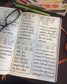 'Things About Me' spread for your bullet journal. Whenever you feel out of touch with yourself or just need that small bit of motivation, a spread like this could be just the right thing! Self Care Bullet Journal, Bullet Journal Writing, Bullet Journal Ideas Pages, Bullet Journals, Journal Writing Prompts, Journal Layout, Journal Pages, Out Of Touch, Smash Book