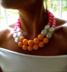 The Vivian - tangerine orange, pink jade and pearl statement necklace. $85.00, via Etsy.