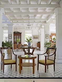 Reception House Ref: floor Drawing Room (British Colonial House) British Colonial Decor, French Colonial, Modern Colonial, Colonial Architecture, Interior Architecture, Cafe Design, House Design, West Indies Decor, Interior Exterior