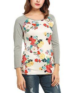 Kancystore Women Contrast Color Floral Print 3 4 Sleeve Raglan T Shirt Top  White Oversize 46d18d06d
