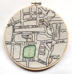 Leicester Square Vintage London Map Embroidery by StitchCity on Etsy Embroidery Map, Cross Stitch Embroidery, Embroidery Patterns, Cross Stitch Patterns, Machine Embroidery, Map Projects, Sewing Projects, Map Quilt, Quilts