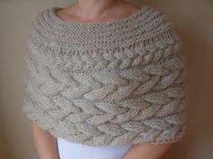 Cable Knit Capelet Shawl Wedding Shrug Poncho Neck by MyKnitCroch