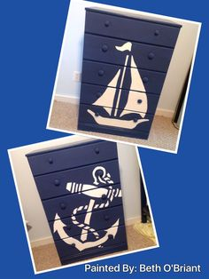 Nautical Dressers - used a laptop and projector to trace design onto dresser, before painting. Also used a Sharpie Paint Pin to outline. Nautical Dresser, Nautical Furniture, Nautical Bedroom, Nautical Home, Painted Furniture, Nautical Style, Coastal Furniture, Repurposed Furniture, Design Your Home