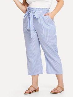 Shop Plus Self Tie Waist Striped Pants online. SHEIN offers Plus Self Tie Waist Striped Pants & more to fit your fashionable needs. Romwe, Striped Pants, Black Pants, Tie Dye Techniques, Black Tie Affair, Plus Size Pants, Suit And Tie, Tie Dress, Black Blouse