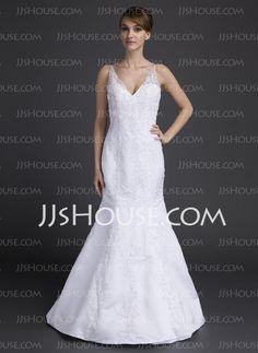 Wedding Dresses - $198.99 - Mermaid V-neck Chapel Train Satin Wedding Dresses With Lace Beadwork (002015813) http://jjshouse.com/Mermaid-V-neck-Chapel-Train-Satin-Wedding-Dresses-With-Lace-Beadwork-002015813-g15813