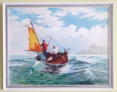 Vintage Original Oil On Board Painting Signed Sailing Boat Seascape Ocean Gulls