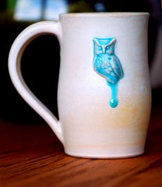 cool blue owl mug