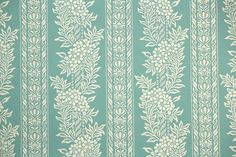 1930's Vintage Wallpaper - Beautiful Antique Floral Stripe of Teal and Ivory