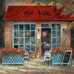 Café Nikki Art Print by Ruane Manning Decoupage, Pintura Exterior, Fine Art Prints, Canvas Prints, Home Buying Tips, Cafe Art, Guy Drawing, Anime Comics, Cob Houses