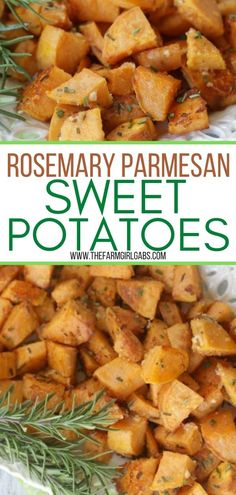 Rosemary Parmesan Sweet Potatoes are tossed in fresh rosemary and parmesan then roasted to perfection! These roasted sweet potatoes have a crispy caramelized exterior and a soft irresistible interior. The rosemary and parmesan seasoning enhance their sweet flavor. This a delicious and easy potato recipe that makes the perfect holiday side dish or easy weeknight meal.