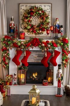 Here are 100 Best Christmas Mantel Decorations. Take inspiration for the perfect Christmas Fireplace decor, that include various themes & traditional styles Indoor Christmas Decorations, Christmas Mantels, Noel Christmas, Christmas Colors, Christmas Christmas, Simple Christmas, Fireplace Mantel Christmas Decorations, Elegant Christmas, Beautiful Christmas Decorations