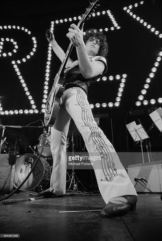 Singer and guitarist <a gi-track='captionPersonalityLinkClicked' href=/galleries/search?phrase=Marc+Bolan&family=editorial&specificpeople=233703 ng-click='$event.stopPropagation()'>Marc Bolan</a> (1947 - 1977) performing with British glam rock group T-Rex, at The Apollo, Glasgow, 22nd January 1974.